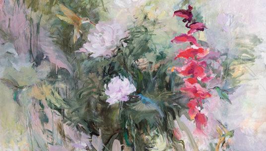 Sirkka-Liisa Lonka teos Heliconiat vuodelta 2017, öljytyö. Kuvassa kukkia ja niiden keskellä pantteri. Linkki Sirkka Liisa Longan näyttelysivulle Näin olen nähnyt.
