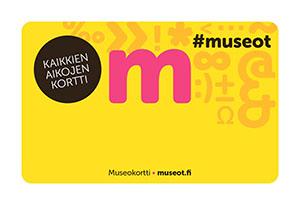 Museokortti. Keltainen pohja, jonka päällä teksti Kaikkien aikojen kortti.