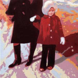 Mari Isotalon teos Helmikuu III. Kuvassa nainen pitää kädestä pikkutyttöä ulkona kävellessä.