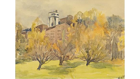 Eino Hokkasen akvarellimaalaus Happotorni