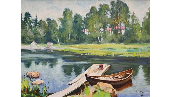 Grigor Auer, Veneranta, Valkealan Jokela, 1960, öljymaalaus kankaalle