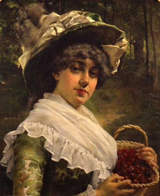 Albert Edelfelt, Kirsikkatyttö, 1878. Kuvassa hattupäinen näinen pitää kirsikkakoria sylissään.
