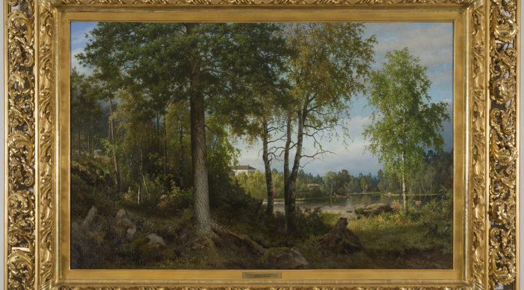 Ferdinand von Wrightin maalaus Leväsen maamieskoulu, 1884, öljy, Emil Aaltosen taidekokoelma, valokuva Petri Nuutinen.