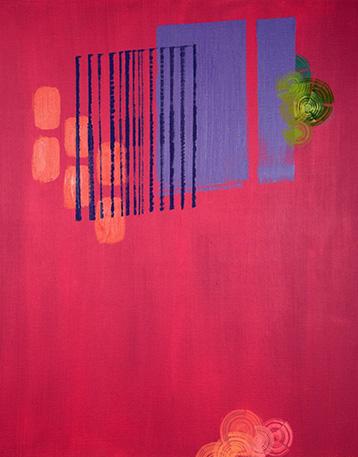 Hillevi Mustaparran öljyvärimaalaus Sound of Night, 2020. Maalauksessa punaisella pohjalla viivoja ja kuvioita.